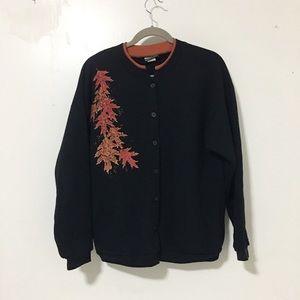 Vintage / leaf 🍁 print button down sweatshirt